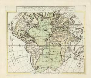 Philippe Buache, Carte physique de l'Ocean ou l'on voit des grandes chaines de montagnes qui traversent les continents d'Europe, d'Afrique et d'Amerique (Paris: G. Delisle et P. Buache, 1757), David Rumsey Map Collection