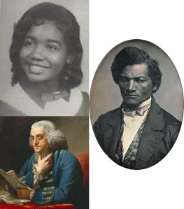 Portraits of Melba Pattillo Beals, Frederick Douglass, and Benjamin Franklin